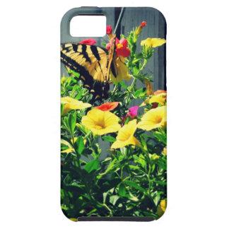 Gele Vlinder met de Foto van Bloemen Tough iPhone 5 Hoesje