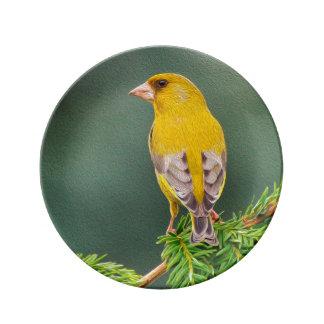 Gele Vogel op Tak Porselein Bord