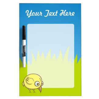 Gele vogelcartoon whiteboard