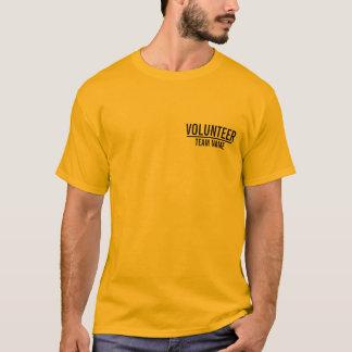 Gele Vrijwilliger met de Naam van het Team van de T Shirt