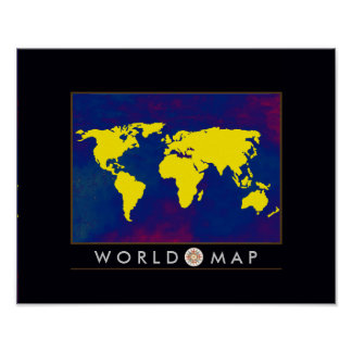 gele wereldkaart poster