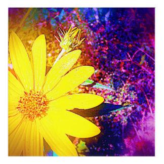 Gele Wildflower Acryl Muurkunst