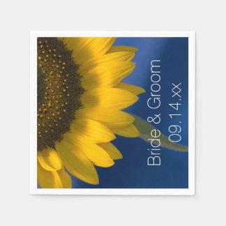 Gele Zonnebloem op Blauw Huwelijk Papieren Servetten