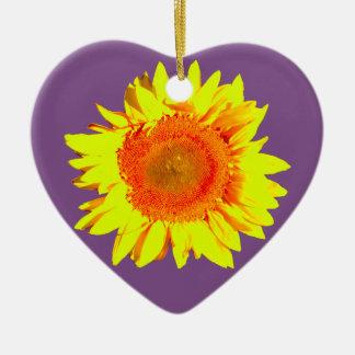 Gele Zonnebloem op Paars Keramisch Hart Ornament