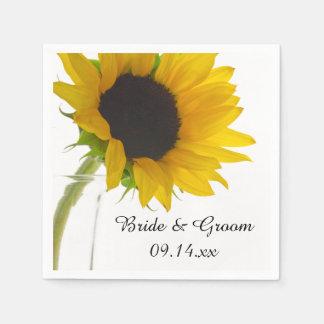 Gele Zonnebloem op Wit Huwelijk Wegwerp Servet