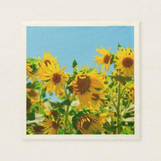 Gele Zonnebloemen op een Gebied Papieren Servetten
