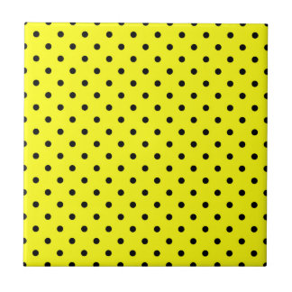 Gele zwarte stip keramisch tegeltje