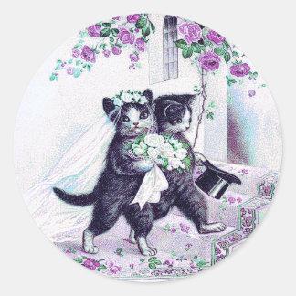 Gelegenheid van de Katten van het huwelijk de Ronde Sticker
