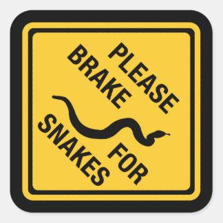 Gelieve te remmen voor Slangen, Verkeersteken, Vierkante Sticker