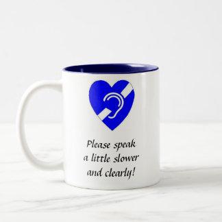 Gelieve te spreken EEN WEINIG Langzamer en Tweekleurige Koffiemok