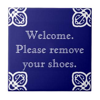 Gelieve te verwijderen schoenen - Spaans Wit op Tegeltje Vierkant Small