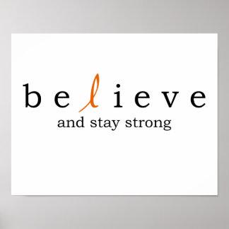 Geloof het Poster van Kanker van de Leukemie