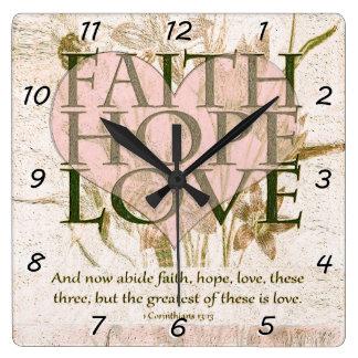 Geloof, Hoop en Liefde Vierkante Klok