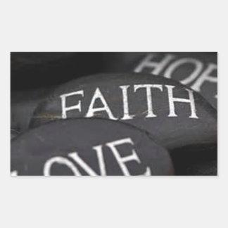Geloof, Hoop, Liefde Rechthoek Stickers