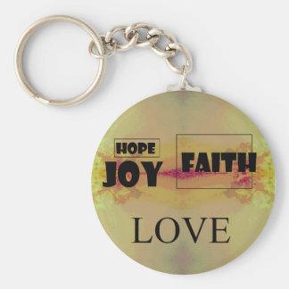 Geloof, Hoop, Vreugde, Liefde, Zeer belangrijke Ke Basic Ronde Button Sleutelhanger
