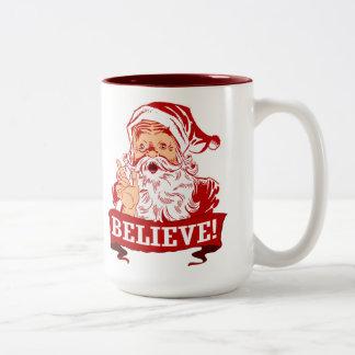 Geloof in de Kerstman Tweekleurige Koffiemok