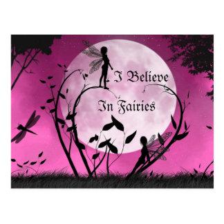 geloof in het maanlichtbriefkaart van Feeën Briefkaart