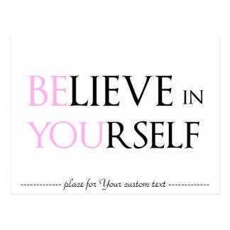 Geloof in zich - bent u motivatiecitaat meme briefkaart