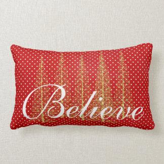 Geloof op Rode Lumbale Kerstmis van het Stip Lumbar Kussen