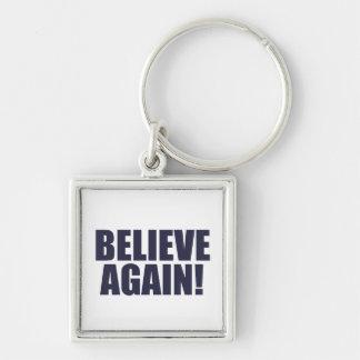 Geloof opnieuw! Sluit Ketting Zilverkleurige Vierkante Sleutelhanger