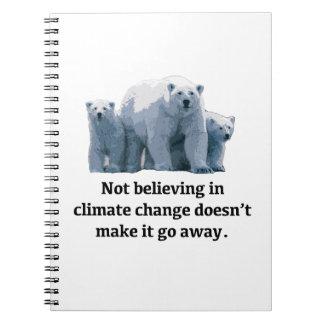 Gelovend niet in klimaatverandering ringband notitieboek