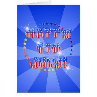 gelukkig 4 Juli met zonnestraal en sterren Notitiekaart
