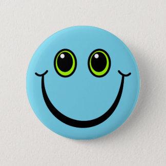 Gelukkig Blauw Gezicht Smiley Ronde Button 5,7 Cm