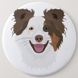 Gelukkig de hondengezicht Border collie van de Ronde Button 6,0 Cm
