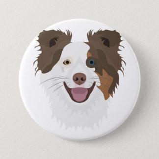 Gelukkig de hondengezicht Border collie van de Ronde Button 7,6 Cm