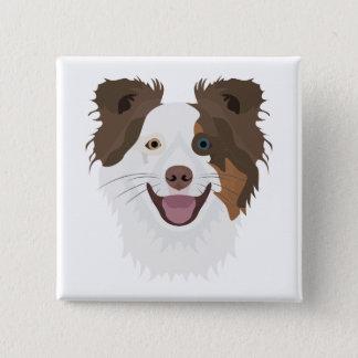Gelukkig de hondengezicht Border collie van de Vierkante Button 5,1 Cm