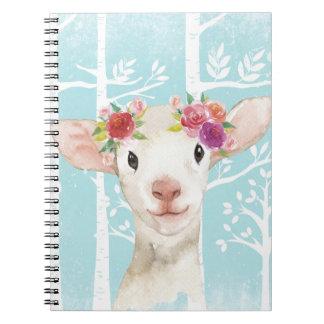 Gelukkig Dier met Bloemen bij Blauwe bos-Schapen Notitieboek