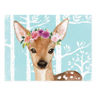 Gelukkig Dier met Bloemen in Blauwe bos-Herten Briefkaart