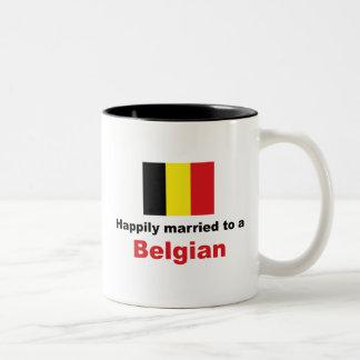 Gelukkig Gehuwd aan een Belg Tweekleurige Koffiemok