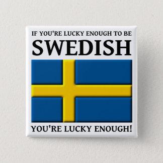 Gelukkig genoeg het Zweedse Kenteken van de Knoop Vierkante Button 5,1 Cm