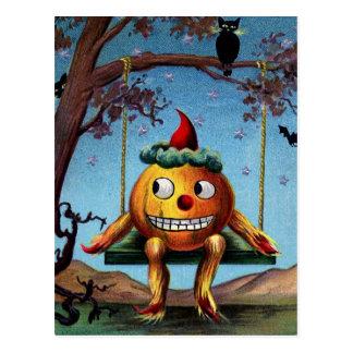 Gelukkig Halloween van Pompoen op een Schommeling Briefkaart