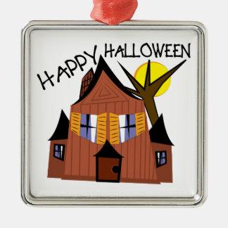 Gelukkig Halloween Zilverkleurig Vierkant Ornament
