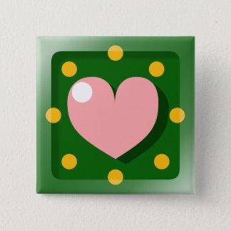 Gelukkig Hart Vierkante Button 5,1 Cm