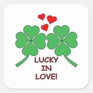 Gelukkig in de Klaver van de Harten van de Liefde Vierkant Stickers