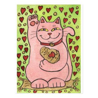 Gelukkig in Liefde: Roze Neko met Harten Briefkaart