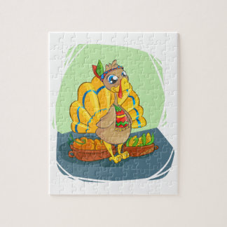 Gelukkig Indisch Turkije klaar voor Thanksgiving Puzzel