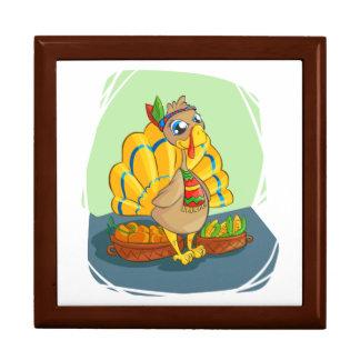 Gelukkig Indisch Turkije klaar voor Thanksgiving Vierkant Opbergdoosje Large