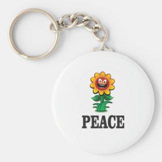 gelukkig madeliefje van vrede basic ronde button sleutelhanger