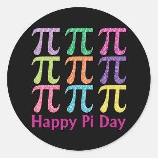 Gelukkig Pi Dag Kleurrijke Tiles.png Ronde Sticker