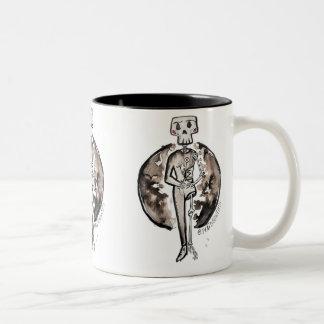 Gelukkig skelet met bloemen tweekleurige koffiemok