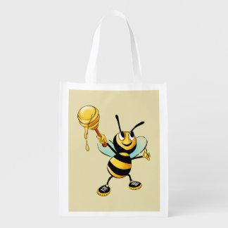 Gelukkig stuntel Bij met een Lepel van Honing Herbruikbare Boodschappentas