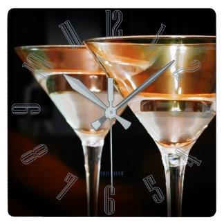 Gelukkig Uur Martini Vierkante Klok