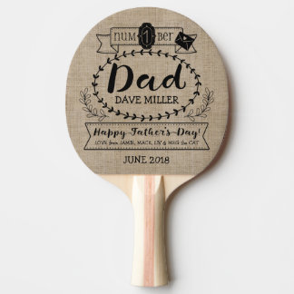 Gelukkig Vaderdag Nummer 1 Één Logo van het Tafeltennis Bat