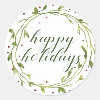 Gelukkig Vakantie | Kroon van Kerstmis van de Ronde Sticker