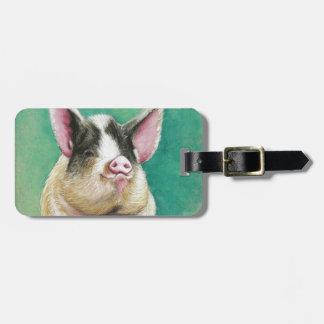 gelukkig varken in pastelkleur het dierlijke bagagelabel