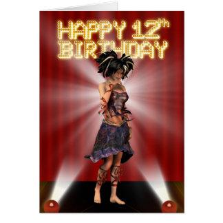 Gelukkige 12de de sterdeva van de Verjaardag op Kaart